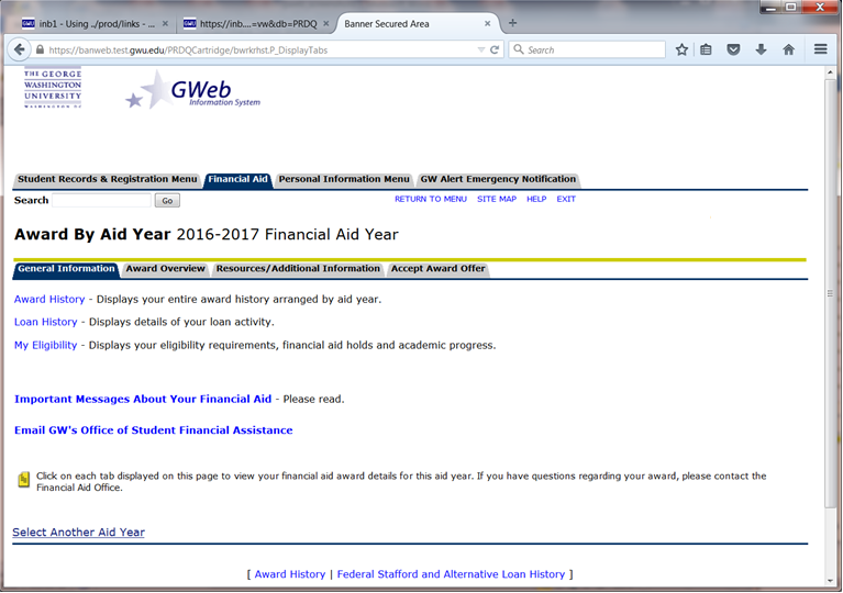 Image of the Award By Aid Year screen on GWeb